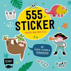 555 Sticker - Faultier Dino Pirat und Co. als Buch von