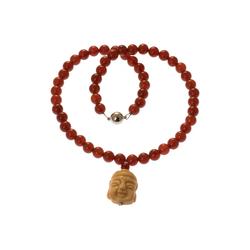 Bella Carina Perlenkette Kette mit Karneol und Buddha, mit Karneol Perlen rot 50 cm