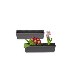 BigDean Blumenkasten 1x Pflanzkasten inkl. Aufhänger für Europalette − Blumenkübel anthrazit − 37 x 13,5 x 9,5 cm