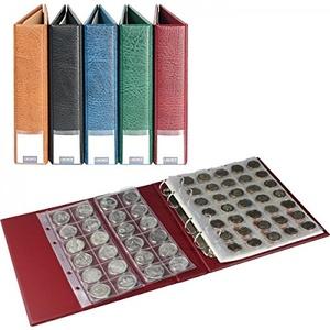 LINDNER Luxus-Münzalbum bestückt mit 10 Münzblättern, weinrot