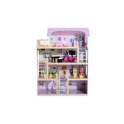 HOMCOM Puppenhaus Kinder Puppenhaus mit Möbeln
