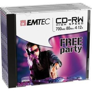Emtec ECOCRW80512JC CD-RW 700MB 5Stück(e) CD-Rohling - CD-Rohlinge (CD-RW, 700 MB, 5 Stück(e), 120 mm, 80 min, 12x)