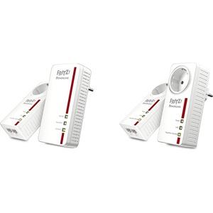 AVM Fritz Powerline 1260E/1220E WLAN Set (WLAN-Access Point) weiß & AVM FRITZ!Powerline 1220E Set (1,200 MBit/s, 2X Gigabit-LAN je Adapter, ideal für NAS-Anwendungen und HD-Streaming) weiß