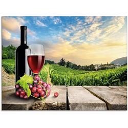 Artland Glasbild Wein vor Weinbergen, Berge (1 Stück) 80 cm x 60 cm