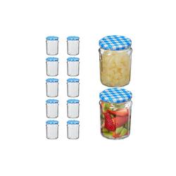 relaxdays Einmachglas Einmachglas 12er Set 380 ml, Glas blau