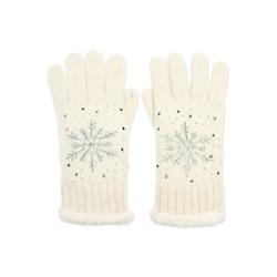 Caspar Strickhandschuhe GLV009 warm gefütterte Damen Strick Handschuhe mit eingesticktem Eiskristall