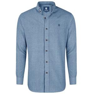 Almbock Trachtenhemd Herrenhemd Florian blau-weiß-gestreift XXL