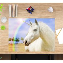 cover-your-desk.de Schreibtischaufsatz Schreibtischunterlage für Kinder – Weißes Einhorn – 60 x 40 cm – aus hochwertigem Vinyl, (1-St)