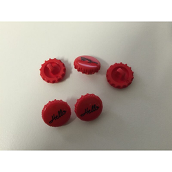 Knöpfe Knopf Kinderknopf Kronkorken rot d=15 mm, 7 Stück
