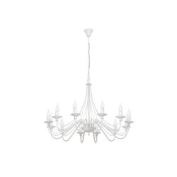 Licht-Erlebnisse Kronleuchter ROSABELLA Weißer Kronleuchter Metall rustikal Esszimmer Hängeleuchte Lampe