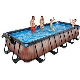 EXIT TOYS Wood Pool 540 x 250 x 100 cm inkl. Sonnendach und Sandfilterpumpe