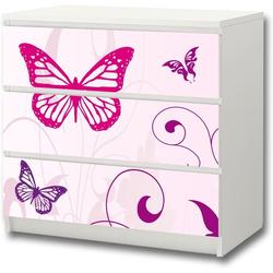 STIKKIPIX Möbelfolie M3K04, Butterfly Möbelsticker/Aufkleber - passend für die Kommode mit 3 Fächern/Schubladen MALM von IKEA - Bestehend aus 3 passgenauen Kinderzimmer Möbelfolien (Möbel Nicht inklusive)