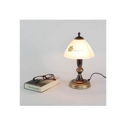 Licht-Erlebnisse Tischleuchte HALLI Tischleuchte Shabby Landhaus Messing Glas Nachttischlampe Lampe