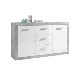 Sideboard in weiß / Beton-Optik