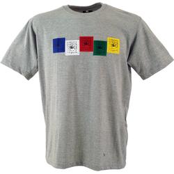 Guru-Shop T-Shirt Tibet & Buddhist Art T-Shirt - Gebetsfahne grau S