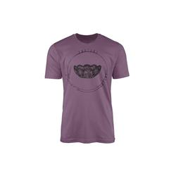 Sinus Art T-Shirt Vintage Herren T-Shirt Kristallschale lila L