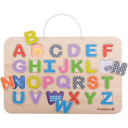 EverEarth® Steckpuzzle Magnetisches ABC-Puzzle & Maltafel, 26 Puzzleteile