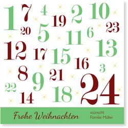 Lustige Weihnachtskarten (10 Karten) selbst gestalten, Adventskalender in Grün - Grün