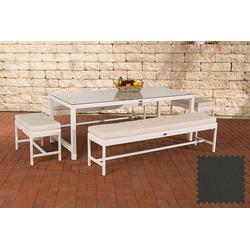 CLP Gartenmöbelset Sitzgruppe Hawaii, Garten-Set aus 4 Sitzbänken und Esstisch weiß