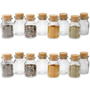 Wellgro Vorratsglas 16 Gewürzgläser mit Kork Verschluss - 150 ml, 6 x 10 cm (xH), Gewürzglas, Aufbewahrungsglas, Korkenglas, Einmachglas, Gläser Made in Germany, (16-tlg)