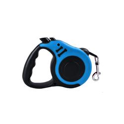 TOPMELON Hunde-Geschirr, Nylon + Kunststoff, Hundeleine Rollleine & Doppel-Knopf-Anti-Rutsch-Griff, 5m, Kunststoff blau L