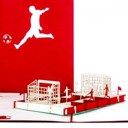 Colognecards Pop-Up Karte Fußballfan rot / weiss