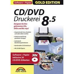 Markt & Technik CD/DVD Druckerei 8.5 mit Papier Vollversion, 1 Lizenz Windows Multimedia-Software, E