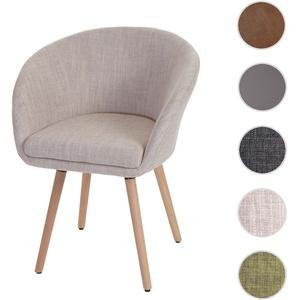Esszimmerstuhl Malmö T633, Stuhl Küchenstuhl, Retro 50er Jahre Design ~ Textil, creme/grau