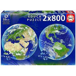 Educa Puzzle Planet Erde 2 x 800 Teile Rund - Puzzle, 1600 Puzzleteile