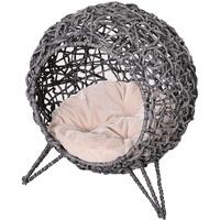 PawHut Tierhöhle Katzenkorb mit Kissen grau