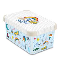 CURVER DECO´s Stockholm Aufbewahrungsbox, 5,5 Liter, Aufbewahrungskisten im Trend-Design bringen Farbe in Ihr Zuhause, Design: Back to school