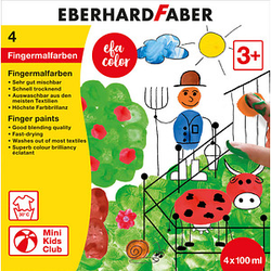 4 EBERHARD FABER EFA Color Fingerfarben farbsortiert 4x 100,0 ml