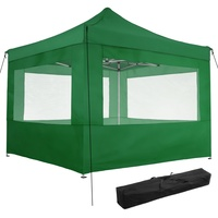 Tectake Faltpavillon 3,00 x 3,00 m inkl. 4 Seitenteile grün