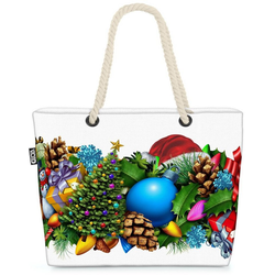 VOID Strandtasche (1-tlg), Adventskranz Winter Beach Bag Winter Weihnachten Dekoration Kranz Adventskranz