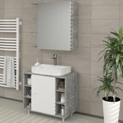 VICCO Badspiegel FYNN 62 x 64 cm Grau Beton - Spiegel Spiegelschrank Wandspiegel