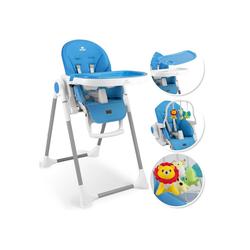 KIDIZ Hochstuhl 3in1 Hochstuhl, Sitzerhöhung, Hocker, Kinderhochstuhl inkl. Spielbügel, Babyliege, Kombihochstuhl, verstellbare Rückenlehne und Höhe,mitwachsend ab 0 blau
