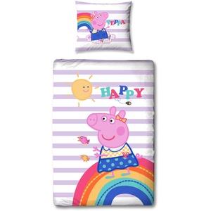 Peppa Wutz Pig Mädchen Wende-Bettwäsche Kinderbettwäsche Happy Peppa Lila Rosa Sunny 100% Baumwolle Renforcé Linon Kissenbezug 80x80 + Bettbezug 135x200 2 Motive deutsche Größe Reißverschluss