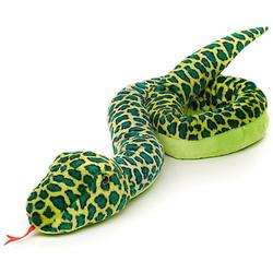 Schlange mit Schwanzrassel - 138 cm (Länge) - Plüsch-Reptil, Plüschtier Kuscheltiere grün