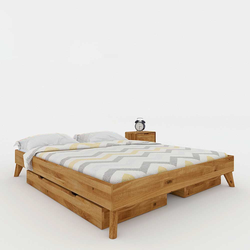 Dachschrägen Bett aus Wildeiche Massivholz Schubladen