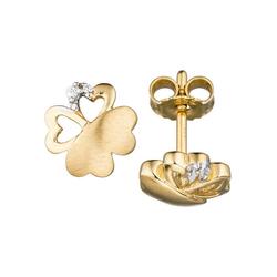 JOBO Paar Ohrstecker Kleeblatt, 333 Gold mit 4 Zirkonia