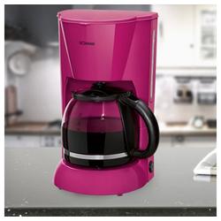 BOMANN Filterkaffeemaschine, Kaffeemaschine in brombeer mit Glaskanne für 12-14 Tassen
