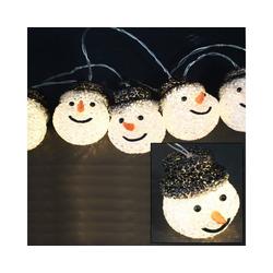 MARELIDA LED-Lichterkette LED Lichterkette Schneemänner - 10 warmweiße LED - L: 0,9m - Batteriebetrieb, 10-flammig