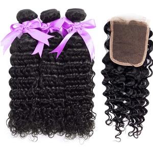 SHAOXI-Hair Extensions Haarverlängerungen- Haarperücke brasilianische Tiefe Welle Haarperücke bündelt mit verschlussfreiem Teil 100% Alidoremi Echthaar Nicht Remy 3 Stück Schuss & 1 Stück Verschluss