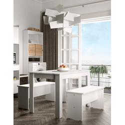 TemaHome Esstisch Nice (3-St), 3 tlg Set, bestehend aus einem Esstisch mit zwei Sitzbänken weiß