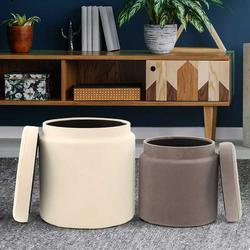 Sitzhocker in Creme Weiß und Taupe Truhe (2-teilig)