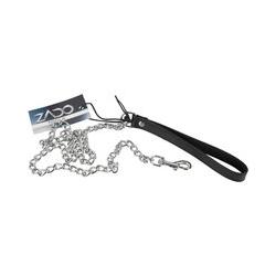 Leine aus Metall mit Handschlaufe aus Leder, mit Karabiner