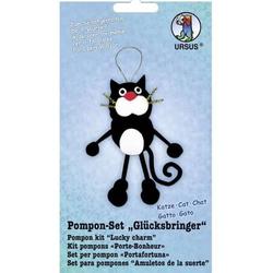 Bastelset Pompon-Set 'Glücksbringer Katze'