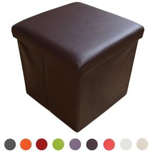 Natsen Sitzhocker, faltbar Sitzbank mit Stauraum Aufbewahrungsbox Kunstleder 38 x 38 x 38 cm (Braun)