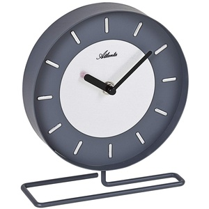 Atlanta Quarz-Tischuhr, grau, Metallgehäuse,Index-Ziffernbatt,Metallfuß, 3115/4