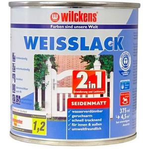 Weisslack 2in1 seidenmatt 375 ml Lack weiß Innen Außen ca. 30 m2 Lackfarbe Grundanstrich Deckanstrich Blauer Engel Dispersion